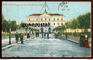 dc1514 - ITALY Taranto 1913 Prospetto R.Arsenale Marittimo. Sent from Australia