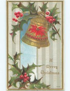 Pre-Linen christmas POINSETTIA FLOWER ON GOLDEN BELL J1501