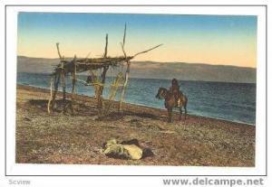 Horse back Arab man next to Dead Sea, 00-10s