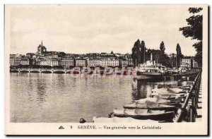Postcard Old Geneva Vue Generale Towards the Cathedral Boat