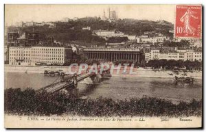 Old Postcard Lyon Courthouse and the tower of Fourviere
