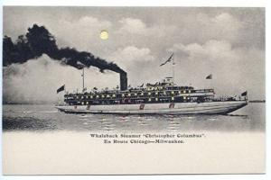 Chicago Milwaukee Whaleback Christopher Columbus HTL Hold To Light Postcard