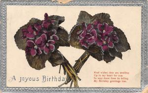 Embossed Joyous Birthday! True Greetings! Violets Bouquets