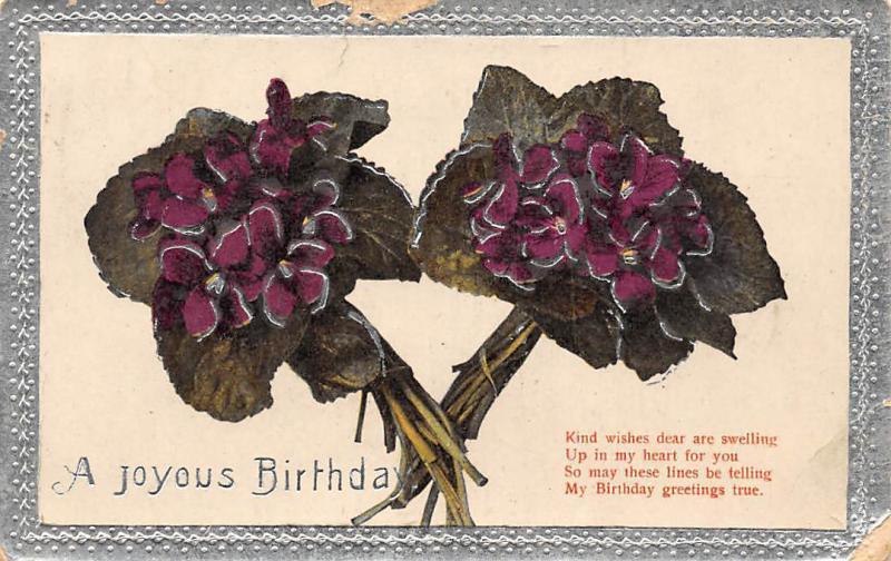 Embossed Joyous Birthday! True Greetings! Violets Bouquets