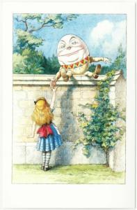 Alice in Wonderland Humpty Dumpty Greeting Alice Postcard by John Tenniel #1