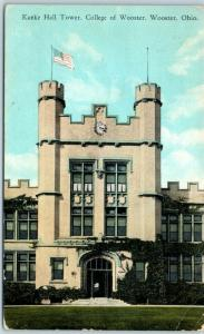 Wooster, Ohio Postcard Kanke Hall Tower, College of Wooster 1927 Cancel