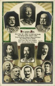 Three against Eight, Entente and Central Powers WWI (1915) RPPC Postcard