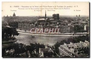 Postcard Old Paris Panorama of the Seine to Notre Dame and the Pantheon