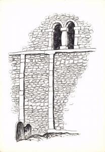 Postcard Art Sketch South Wall, Saxon Church of St. Nicholas, WORTH, Sussex #W