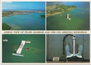 Pearl Harbor and USS Arizona Memorial, aerial view, unused Postcard