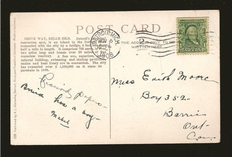 USA Postmark 1908 Detroit Mich Driveway Belle Isle Detroit Color Postcard