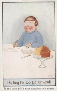 AS; Man eating cake, writing a letter, 1900-10s; TUCK # 8789