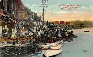 LP17 Boat Race New London Connecticut Postcard Draw Bridge