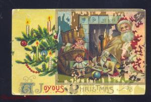 JOYOUS CHRISTMAS SANTA CLAUS TOYS ANTIQUE VINTAGE POSTCARD