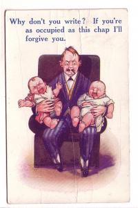 Man with Two Babies in His Lap, Bamforth