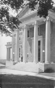 Vergennes Vermont~Bixby Memorial Library Entrance~Man Posing @ Steps~c1910 RPPC