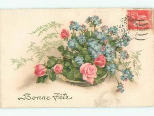 Very Old Foreign Postcard BEAUTIFUL FLOWERS SCENE AA4259