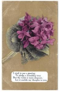 Motto Friendship Poem Postcard Flowers Violets on Gold 1909