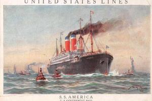 United States Lines SS America Ship Log Antique Non Postcard Back J75553