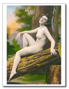 French Nude Naturist Woman Risque REPRO Vintage Postcard