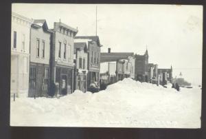 RPPC LAMBERTON MINNESOTA DOWNTOWN STREET SCENE SNOW REAL PHOTO POSTCARD