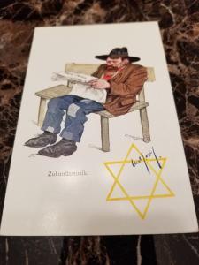 1938 Germany Mint Postcard Eternal Jew Museum Exhibit Man Reading Newspaper