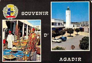 Morocco Souvenir d'Agadir Market Place Street Auto Cars Church