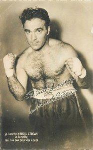 Postcard Sport boxing boxer sportmen body muscle muscleman Marcel Cerdan