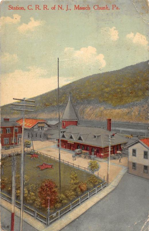 D64/ Mauch Chunk Pennsylvania Pa Postcard Railroad Depot C RR of NJ 1911    7