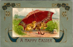 A Happy Easter - Postcard Adorable Chicks Umbrella Flowers and Eggs - PC