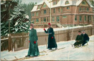 Vtg 1911 Postcard - Mandal Norway - Cross Country Wood Skis & Sled Down Street