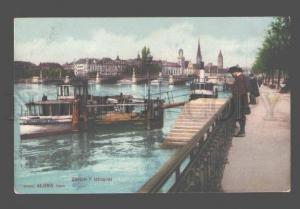 081344 SWITZERLAND Zurich Utoquay steamships Vintage PC