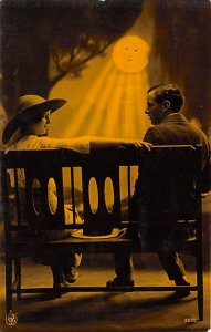Moon Post Card Man and Woman Sitting on Bench in Moonlight Unused