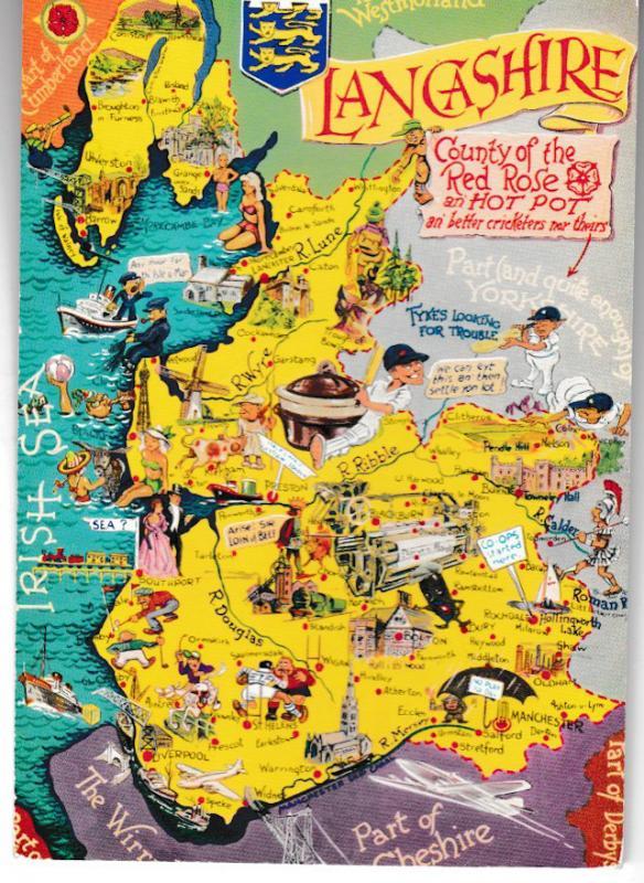 postcard map of LANCASHIRE Bamforth unposted