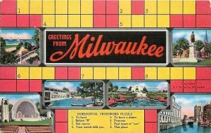 Milwaukee Wisconsin~Crossword Puzzle Greetings~City Scenes~1940 Linen Postcard