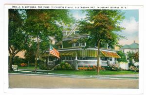 Alexandria Bay to Brooklyn, New York used Postcard, The Elms, Thousand Islands
