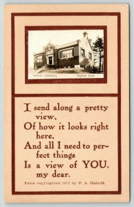 Tipton Iowa~Carnegie Public Library~Cedar Street~Mini RPPC~Poem~1912 Postcard