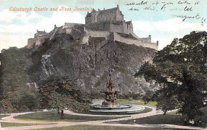 Edinburgh Castle and Ross Fountain Scotland, UK 1907