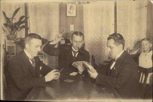 Men Playing Cards & Smoking c1920 Real Photo Postcard GREAT IMAGE