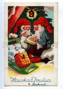 206784 NEW YEAR Dwarfs GNOME w. X-mas GIFTS Vintage postcard