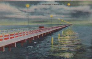 Florida St Petersburg Gandy Bridge By Moonlight 1946