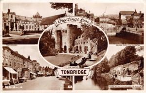 TONBRIDGE KENT UK SCHOOL~HIGH STREET~BRIDGE OVER MEDWAY~PHOTO POSTCARD 1955 PSMK