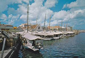 Boats Of Floating Market Lined Against Quay, CURACAO, Willemstad 1960-1970s