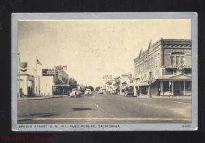 PASO ROBLES CALIFORNIA DOWNTOWN SPRING STREET SCENE 1940's