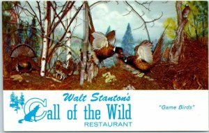 Wisconsin Dells Postcard CALL OF THE WILD Restaurant / Stuffed Game Birds c1950s