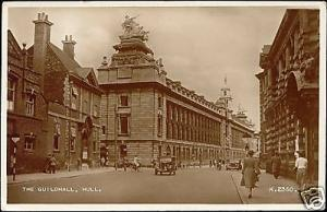 yorkshire, HULL, The Guildhall, Car (1953) RPPC
