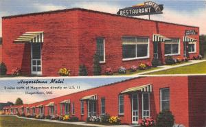 Hagerstown MD~Red Brick Motel & Restaurant~Office~US 11~1952 Linen Postcard
