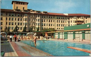 Los Angeles Ambassador Sun Club - woman by pool  LA California postcard