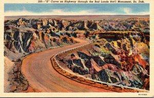 South Dakota Badlands National Monument S Curve On Highway Throug...