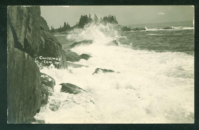 CHRISTMAS COVE MAINE Waves Crashing on Cliff Rocks Real Photo Postcard RPPC